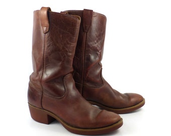 Campus Leather Boots Vintage 1970s Whiskey brown Durango Cowboy Men's size 8 EE