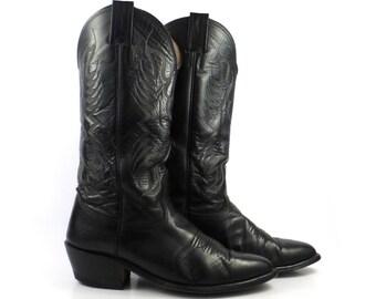 Nocona Cowboy Boots Vintage 1980s Black Leather Western Men's size 7 E