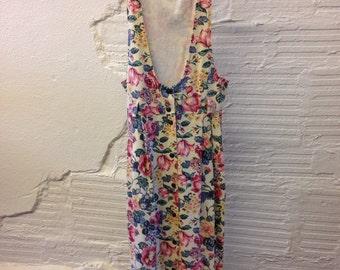 Floral Denim Dress Vintage 1990s Maxi Dress Cherokee Jumper Jean