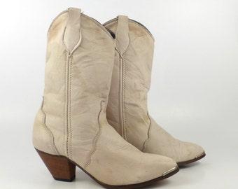 Cowboy Leather Boots Vintage 1980s Tan Natural Women's size 6 1/2