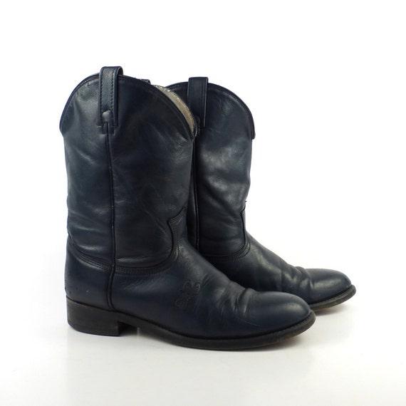 blue cowboy boots vintage 1980s navy acme roper s
