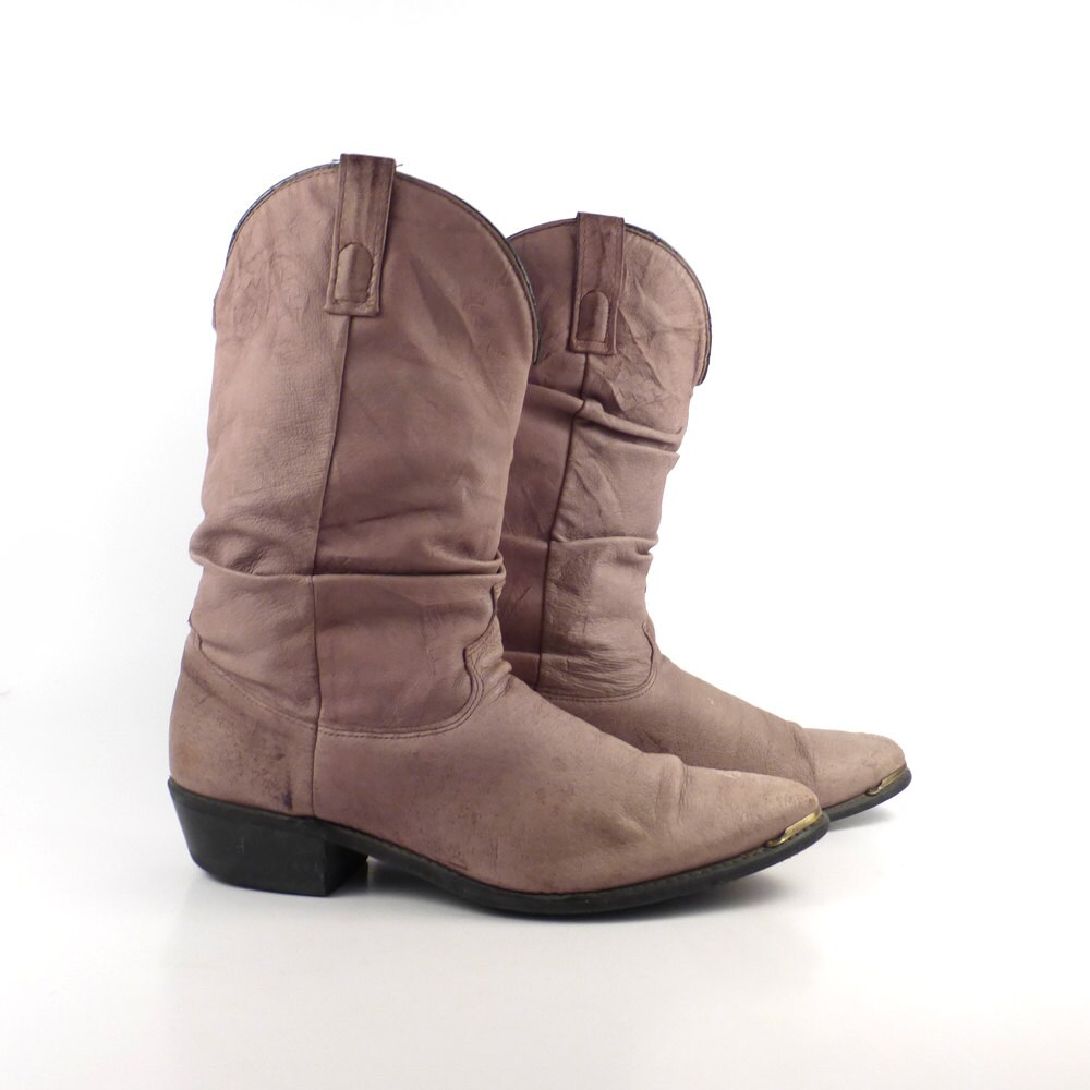 s cowboy boots vintage 1980s taupe brown slouch size