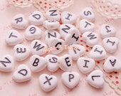 Heart Shaped White Alphabet Beads / Alphabet Letters / Acrylic Beads - 20g (54pcs approx.)
