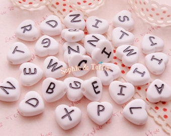heart shaped white alphabet beads alphabet letters acrylic beads 20g 54pcs approx