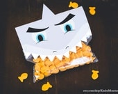 INSTANT DOWNLOAD Printable shark teeth treat bag topper shark face and teeth to staple over bag of candy or goldfish birthday party favors