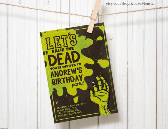 Zombie invitation green customized printable kids birthday party zombie invitation green customized printable kids birthday party invitation funny walking dead zombie slime grave tombstone monster party filmwisefo