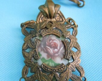 SALE VICTORIAN Necklace Hand Painted Porcelain Cameo Fligree Pendant & Glass FREE Shipping