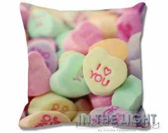 Candy Hearts - Valentine's Day - Fine Art Photography Pillow for home decor