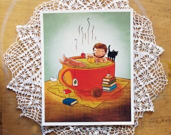 Cozy Man - rustic relaxing tea book cat boy print