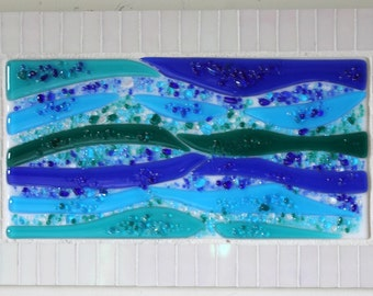 CLEARANCE SALE:  Stained Glass, Fused Glass, Water, Flowing, Turquoise, Blue, Green