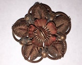 Vintage 1920s-30s Copper Wire FLOWER BROOCH in Very Good Condition