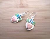 Shimmery Pink Heart Blue Posie Flower Charm Earrings Enamel Glass Rhinestone