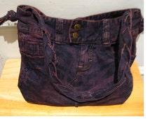 Purple dyed denim shoulder bag- festival purse - hippie boho eco accessories - womens shoulder purse - gifts for her