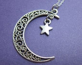 Crescent Moon and Star Necklace - Personalized Initial Name, Customized Swarovski crystal birthstone