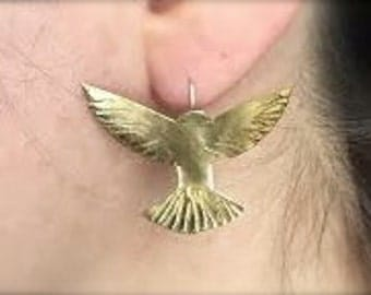 Bird in Flight on soldered sterling silver ear wire