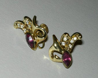 Vintage Rhinestone Screw Back Earrings