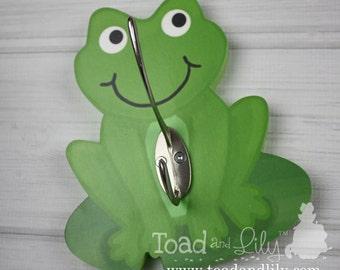Frog Froggy Kids Bathroom Towel Hook Clothes Peg Rack Clothing Rack Kids Bedroom Baby Nursery Kids Bathroom Bath WH0027
