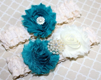 BRIDAL GARTER SET - Ivory Lace Garter, Teal and Ivory, Pearls, Shabby Flowers, Custom colors available