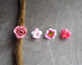 Shades of Pinks Flower Dangle Charm Bead Antiques Brass  Dreadlock Accessory Extension Accessories Dread Boho Bohemian Hippie