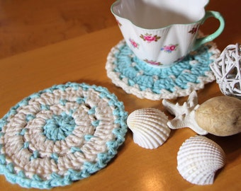 Ready to Ship Cottage Chic Cotton Coasters or Crochet Scrubbies in Aqua and Cream Set of 2