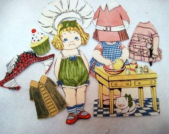 Children's   Fabric Paper Doll playset  travel church toy  Penny Rose Bakery  Beth