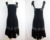 1980s does 1920s Flapper Dress Victor Costa Black Ribbon Bow Car Wash Hem Medium Designer