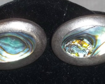 Vintage Sterling Silver 925 Mexico Large Oval Abalone Cuff Links Cufflinks
