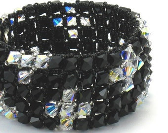 Black and Clear Crystal Bling Cuff