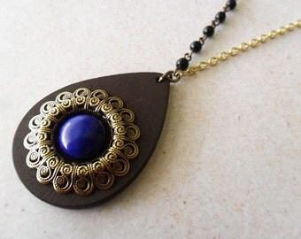 Long Bohemian Hippie Wood and Lapis Howlite Stone Pendant Necklace