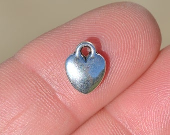 10  Silver 10mm Heart Charms SC5037