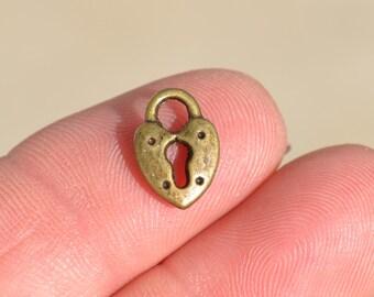 12  Bronze Heart Padlock Charms BC3183