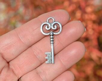 10  Silver  Key Charms SC2560