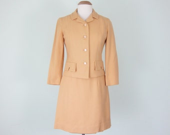 60s butterscotch yellow wool two piece suit jacket pencil skirt (s - m)
