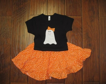Ghost Halloween Twirl Skirt Outfit Custom Personalized Shirt