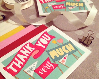 thank you so very much handlettered notecard set