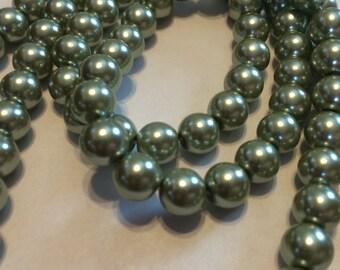 "8mm Sage Glass Pearls  - 15"" strand"