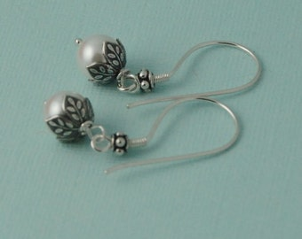 Pearl earrings, sterling pearl earrings