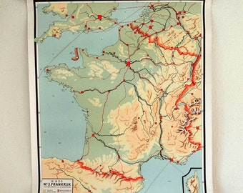 vintage wall chart, Dutch educational poster with map of France