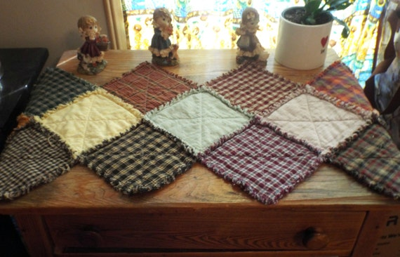 Items Similar To Primitive Table Runner Rag Quilted
