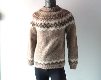 Vintage Icelandic Hand Knit Sweater - Size Med to Large - Fair Isle Mens Wool Winter Jumper - Brown Taupe - Excellent Vintage Condition