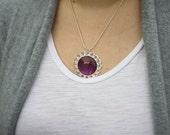 Vampire Planet Ringlet Round Shaped Nail Polish Pendant Necklace - Nail Polish Jewelry.  Halloween Collection.