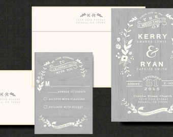 Floral Wedding Invitations with Wood grain Background // Elegant and Rustic Invite with Personalized text and colors