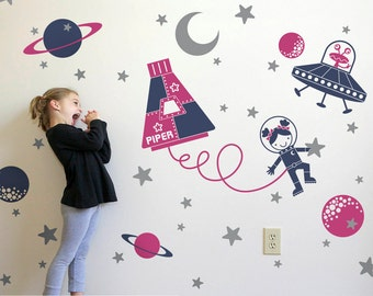 Space Girl Wall Decal Space Walk Personalized Name for Space Theme Baby Nursery