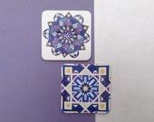 Morocco Patterned Coaster Set // Melamine Drink Coasters // Moroccan Coaster Set // Tile Coasters