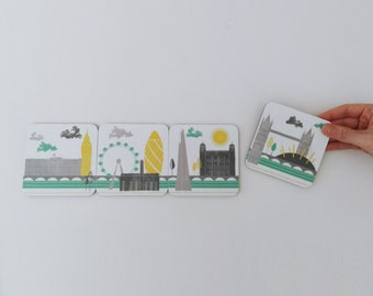 London Coaster Set // Melamine And Cork Backed Coasters // Drink Coaster Set // Fathers Day Gift Idea