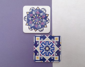 Morocco Patterned Coaster Set // Melamine Drink Coasters // Moroccan Coaster Set // Tile Coasters // Stocking Filler // Xmas Gift