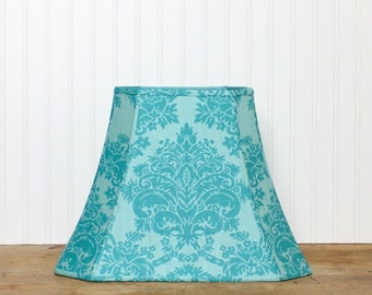 Damask Lamp Shade - Lampshade - Vintage French Scalamandre - Turquoise Lamp Shade - Teal - Cottage - French Fabric - Lamp Shade