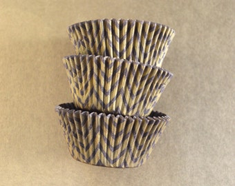 Brown and Gold Chevron ZigZag Cupcake Liners Standard Size 50 per pack