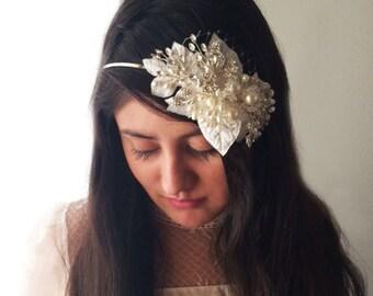 Bridal headband, beaded headband, bridal hair band, bridal leaves headband, wedding veil alternative, french netting headband, mini veil,