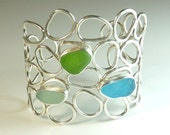 Mosaic Seaglass Cuff Bracelet- Ready to Ship